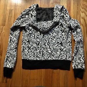 Wetseal Rose Print Zip-up Jacket